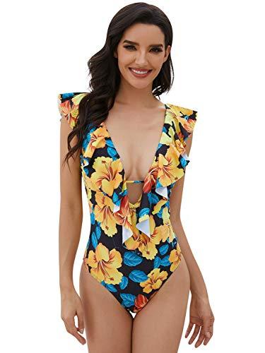 Yuson Girl - Bañador sexy para mujer, 1 pieza con volante, monokinitrikini de cintura alta Amarillo. M