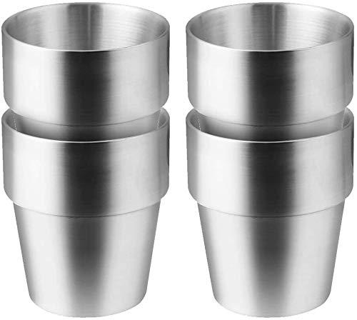 Taza de Acero Inoxidable - Set de 4 Apilable, Taza de Café/Taza de Té/Vasos de Cerveza para Enfriar, ideal para Viajes, al Aire Libre, Camping y Todos Los Días (Plata-2)