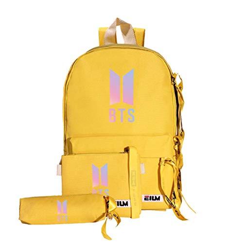 Mcvrv BTS Schultasche Kugelsichere Jugendliga Peripherie-Rucksack Umhängetasche Farbverlauf Bildtasche Dreiteilige Segeltuchtasche,Yellow