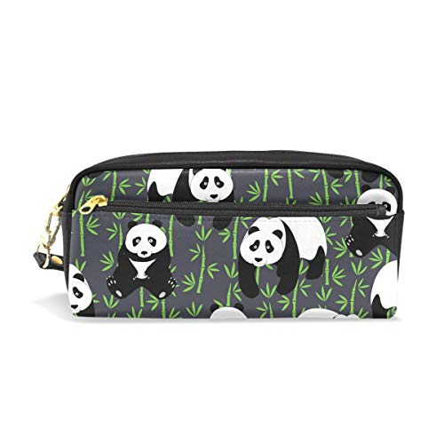 jstel Panda mit Brille Schule Bleistift Tasche für Kid Jungen Kinder Teens Stifthalter Kosmetik Make-up-Tasche Frauen Haltbare Stationery Pouch Bag großes Fassungsvermögen