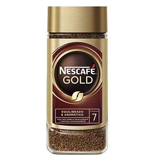 NESCAFÉ GOLD NATURAL aroma y sabor, soluble con café molido de tueste natural 100 % arábica, frasco de vidrio, 100 g