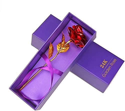 Rosa Flor 24 Quilates de chapada Oro de ,eterna plástico de Alto Grado Rosa roja, día de la Madre, día de San Valentín, celebración romántica de la el Día de Acción de Gracias