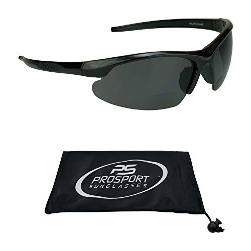 proSPORT Polarized Bifocal Smoke +2.50 Sunglasses for Men and Women. Anti Glare Impact Resistant Polycarbonate Lenses