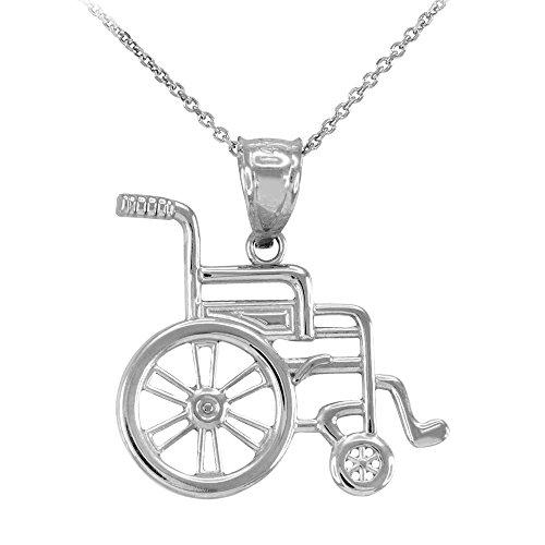 Damen Anhänger Halskette 14 Karat Weißgold Handikap Invalidität Bewusstsein Rollstuhl (Kommt mit einem 45cm Kette)
