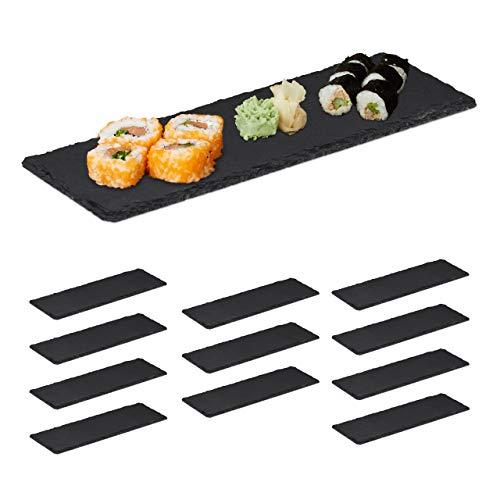 Relaxdays 12 x Schieferplatte, längliche Servierplatten aus Schiefer, Servieren & Beschriften, 30x10 cm, Sushi Platte, anthrazit