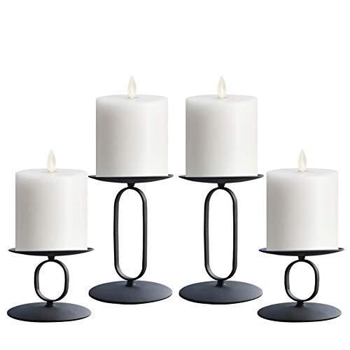 NiceAI Kerzenhalter Set Kerzenständer Kerzenständer Kerzenständer Hochzeit Tafelaufsatz für Tische Kamin Bildschirme Deko Kerzenständer Schwarz 4er Set