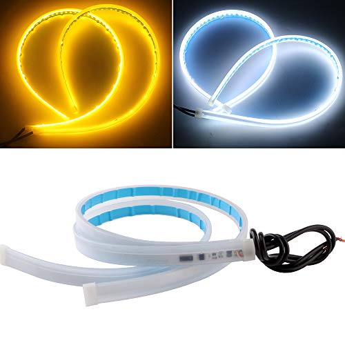 EverBright Led Strip Lights for Cars, Led Headlight Strip for Daytime Running Lights Turn Signal Bulb DRL Sequential Switchback Led Strip Amber/Yellow & White (2Pcs 60CM/24 Inch)