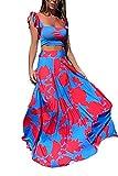 Vakkest Womens Summer Sexy 2 Pieces Outfits Summer Floral Tank Top Wrap Long Skirt Set Clubwear Dress Blue