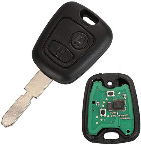ProPlip - Llave completa con programación electrónica para Peugeot 406 206 Carcasa 433 MHz, mando a distancia en blanco