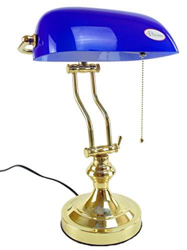 fd-bolletta arredamento e illuminazione lampada ministeriale churchill,lampada ottone catenella da scrivania vetro blu lm7 Misure:H 38cm,L 26cm,Ø base 15cm profondità 17cm