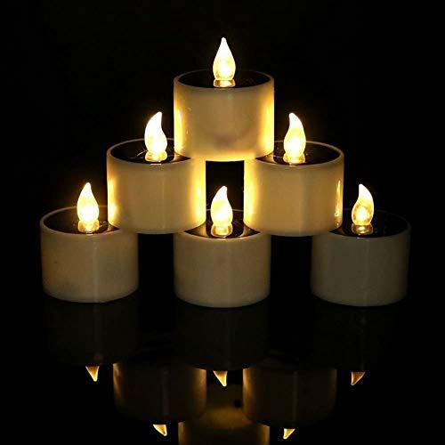 HAPPY ELEMENTS 6 PC Solar Angetrieben Led Kerze Hochzeitsdekoration Romantisches Warmes Weiß Teelicht Bestes Geschenk für Halloween Weihnachten