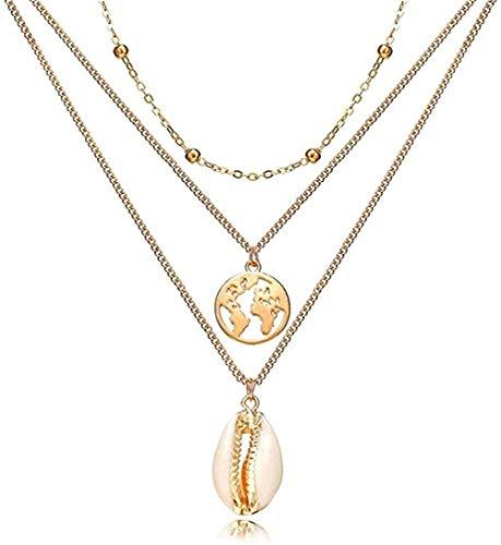 ZPPYMXGZ Co.,ltd Collar de Moda Concha, Collar Bohemio, Collares Multicapa para Mujer, Color Dorado, Plateado, Largo, Colgante, Collar, joyería