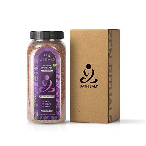 Zen Rituals Roze Himalaya-badzout met organische etherische olie Lavendel, 1 kg.