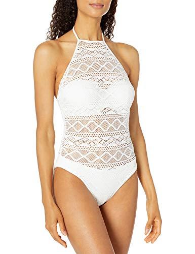 Freya Women's Sundance Underwire High Neck One-Piece Swimsuit, White, 32F