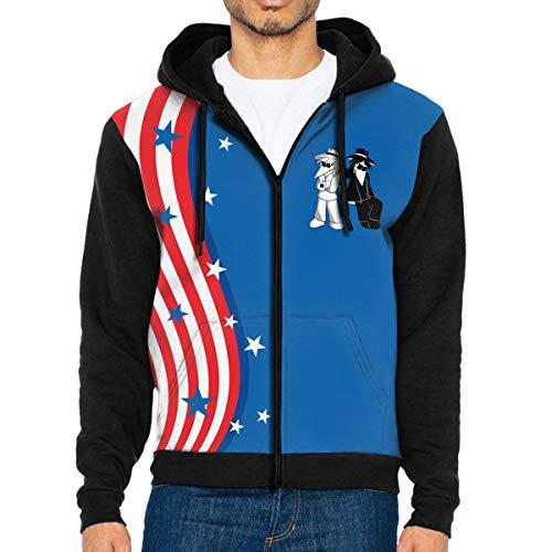 Logo Print of Spy-Vs-Spy Man's Trend Hooded Sweatshirt with Pockets Black
