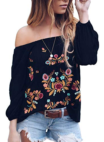 Sidefeel Women Off The Shoulder Long Sleeve Top Floral Embroidered Casual Blouse Small Black