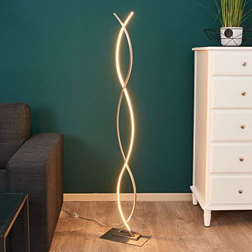 Lindby LED Stehlampe 'Bobi' (Modern) in Alu aus Aluminium u.a. für Wohnzimmer & Esszimmer (1 flammig, A+, inkl. Leuchtmittel) - LED-Stehleuchte, Floor Lamp, Standleuchte, Wohnzimmerlampe