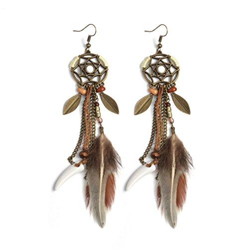 Forbestest Orecchini pendenti con piume in piuma Orecchini pendenti con nappe pendenti Orecchini pendenti con perle bowknot