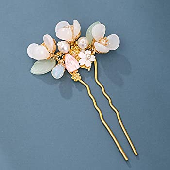 Vintage Hair Clip Flower Pearl Hair Stick U-Shaped Hairpin Wedding Bobby Pins for Buns Hair Pins Women Headdress