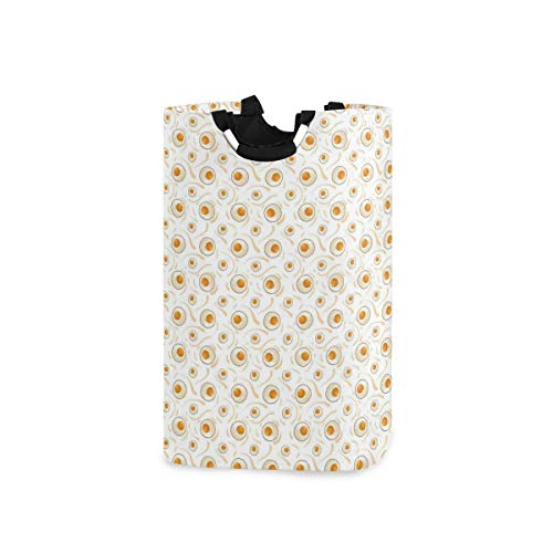 DYCBNESS Laundry Basket,Breakfast Food Pattern With Fried Eggs Healthy Protein Omelets Morning Meal,Large Capacity Collapsible Washing Laundry Basket Bag,Portable Baskets,Laundry Hamper with Handle