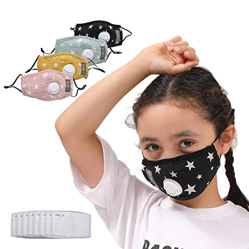 GORTES 4pcs Kid Reusable Face Cotton with Breathing Valve with 8pcs Activated Carbon Filter Replaceable Filters Face Health for Adults (4PC+8)