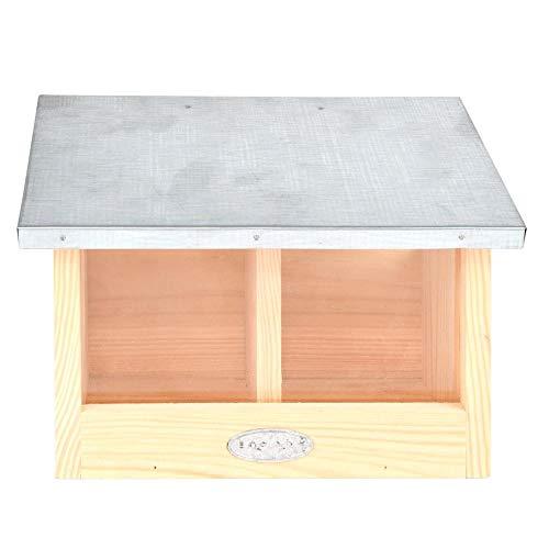 Esschert Design Eichhörnchen Futterhaus doppelt aus, 25,3 x 17,6 x 18,7 cm, Nistkasten, Futterstation mit Zinkdach, witterungsbeständig