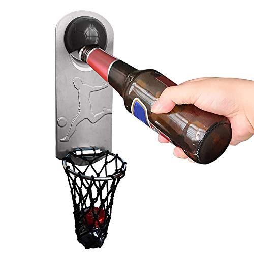 Shaying Apribottiglie in Metallo con Magnete Morbido, apribottiglie per Birra a Parete con Tappo per canestro da Basket Creativo, per Frigorifero Office Bar