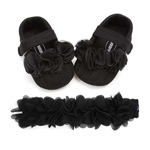 EDOTON Baby Mädchen Blume Schuhe mit Haarband Anti-Rutsch-Weiche Taufe Prinzessin Lauflernschuhe Sneaker für Kleinkind (0-6 Monate, A_Schwarz)