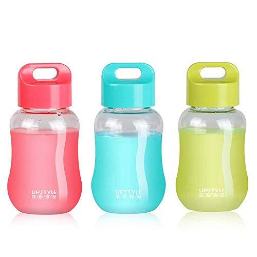 Juliguala Upstyle Mini-Flaschen, aus Kunststoff, zum Reisen, für Wasser, Sport, Milch, Kaffee, Tee, Saft, 180 ml Transparent Pack of 3