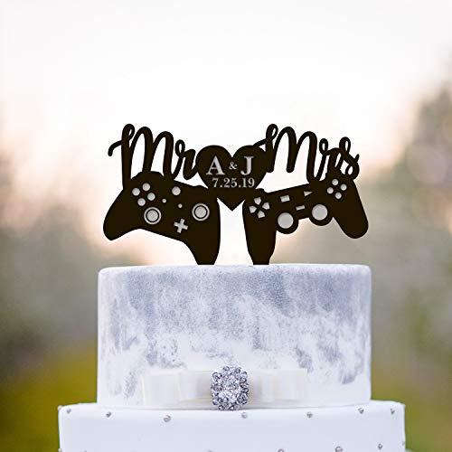 Gamer Wedding Cake Toppergamers Wedding Cake Toppervideo Gioco Torta di nozze Topperinitial Cake Topperxbox Playstation Cake Topper 232