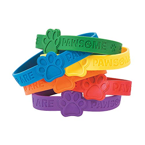 Fun Express Paw Print Rubber Bracelet - 24 Pieces - Educational and Learning Activities for Kids