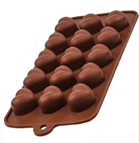 BlueFox Silikonform 15 Herzchen, Pralineform, Eiswürfelform, Schokoladenform, Süßigkeiten Deko Förmchen Bonbon Chocolate Fondantform Ice Cube Mould Eiswürfelform Silicone, Farbe: Braun