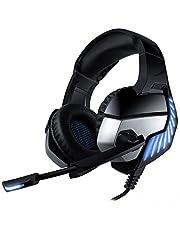 CHEREEKI Gaming Headset, spelhörlurar med brusreducerande mikrofon och volymkontroll och LED-ljus för PC/PS4/Xbox One BLÅ