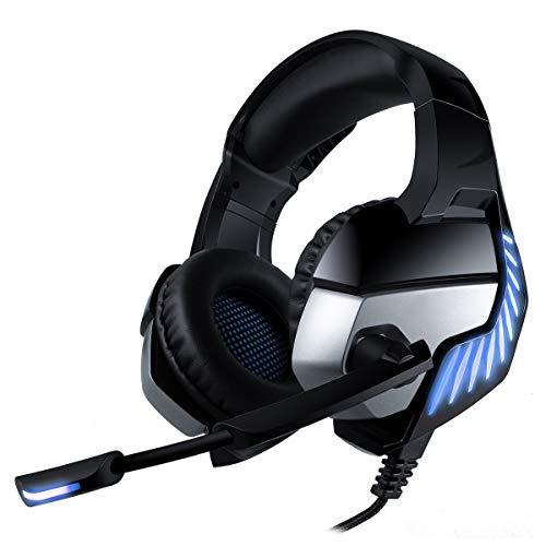 CHEREEKI Gaming Headset für PS4 PC Xbox One, Gaming Kopfhörer mit Mikrofon, LED Licht Stereo Rauschunterdrückung und Lautstärkeregler für Laptops, Mac, Tablet und Smartphone (Blau)