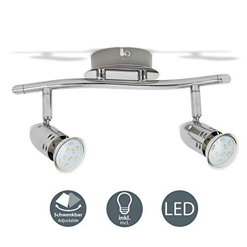 B.K.Licht - Lámpara de techo con 2 Focos LED GU10, focos ajustables y giratorios para interiores, de luz blanca cálida, 3W y 250 lúmenes, 3000K, elegante barra, color cromo