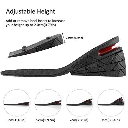 """Height Increase Insole 4-Layer Orthotic Heel Shoe Lift Kit with Air Cushion Heel Insert 1.18"""" to 3.54""""Variable Height Adjustable Increase Insoles for Men Women Comfortable Breathable and Odor Resistan"""