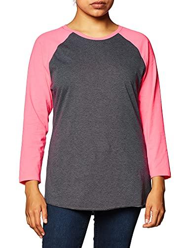 Soffe Women's Baseball Tee, Grey Heather/Neon Pink, Medium