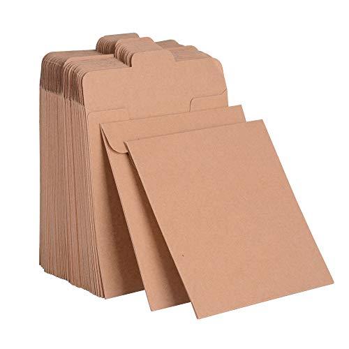 JNCH 50er Pack Umschlag für CD/DVD Hüllen Kraftpapier Sleeves Kuverts für CD Vintage Papierhüllen Schutzhüllen für Fotos Geschenkverpackung Weihnacht Party Hochzeit Geburtstag (12,5 x 12,5cm)