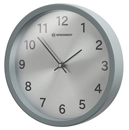 Bresser Wanduhr MyTime Silver mit Edelstahlrahmen und geräuschlosem manuellem Uhrwerk, 25cm Durchmesser