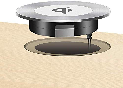 Wireless Charger 15W Fast Kabelloses Ladegerät induktions ladegerät von Furniture Grommet Wireless Charging iPhone 11/11 Pro Max/XS MAX/XR/8 Plus, Galaxy Note 9/S9 Plus/Note 8/S8,AirPods Pro(Silber)