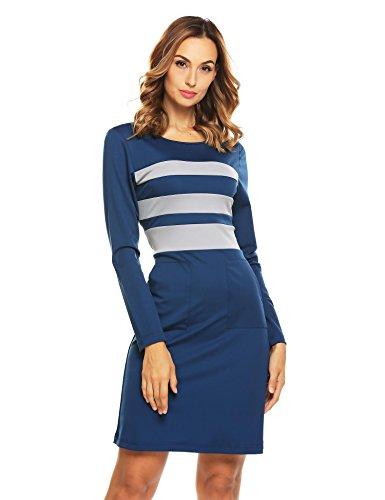 keland Clear Stock!! Damen Feminines Etuikleid Jersey Kleid Langarmkleid Bodyform O-Neck Bleistiftkleid Casual Partykleid