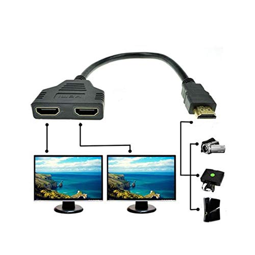 HDMI Splitter Adapterkabel, 1080P HDMI Port Stecker auf 2 Buchse 1 In 2 Out Splitter Kabel Adapter Konverter (Black)