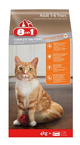 8in1 Katze Erwachsen Huhn (Trockenfutter für ausgewachsene Katzen ab 1 Jahr mit Hühnchen), 4 kg Beutel, 2er Pack (2 x 4 kg)
