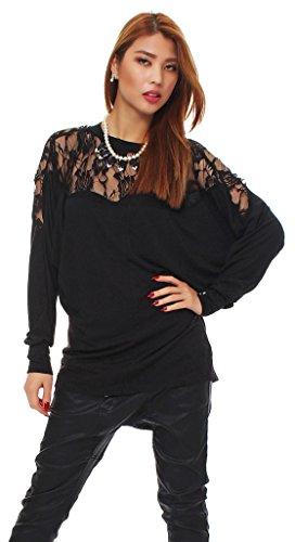 Mississhop 90-09 Japan Style Damen Longshirt Tunika Bluse Pulli Tunika mit Spitze Schwarz XL