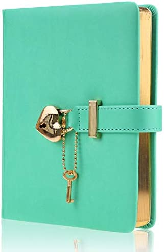 Mazeran Heart Shaped Lock Journal PU Leather Hard Cover Gold Gild Edge Notebook Travel Diary product image
