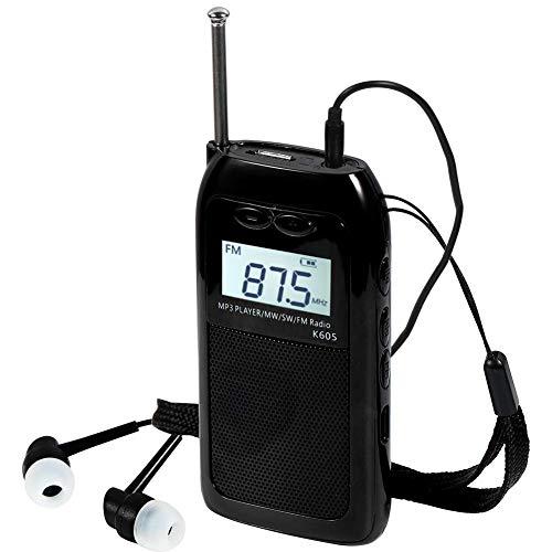 Radio De Bolsillo Portátil LCD Pantalla Digital Soporte Tarjeta TF Reproductor De MP3 Recargable FM SW MW Estéreo Mini Walkman Radio con Memoria De Apagado para Trotar Camping con Auriculares