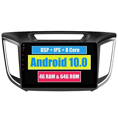 Roverone 10,2 Pouces Android 6.0 Octa Core pour Hyundai Ix25 Creta 2014 2015 2016 Autoradio avec système GPS de navigation radio stéréo Bluetooth Mirror Link Full écran tactile
