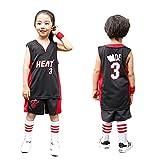 YCQQ Ropa de Baloncesto para Niños y Niñas, Camiseta de Baloncesto de la NBA de Miami Heat del número 3 Wade, Transpirable, grabada, Chaleco De Gimnasia(Size:2XL(155-160cm),Color:G2)