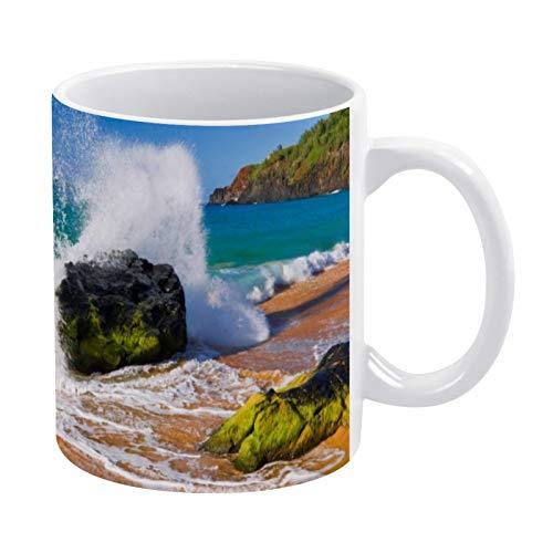 White Ceramic Mug Waves Crash on The Beach Hawaii with Handle, for Gift, Coffee mug.Tea Mug, Milk Mug Office Home, made in US
