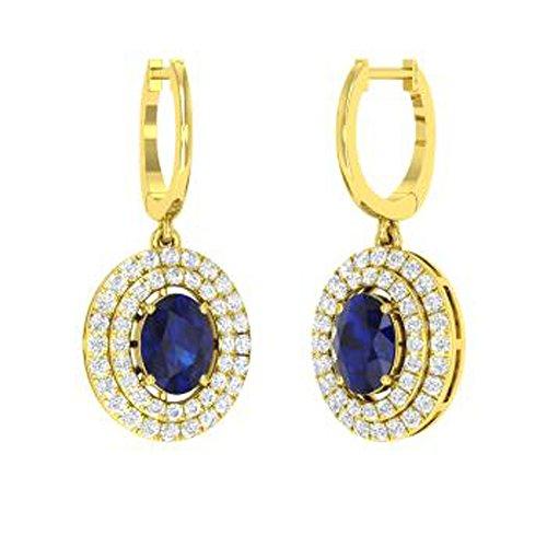 DiviDiamonds - Pendientes de gota para mujer, diseño ovalado y redondo, 3,92 quilates, con zafiro y circonitas, chapado en oro de 14 quilates